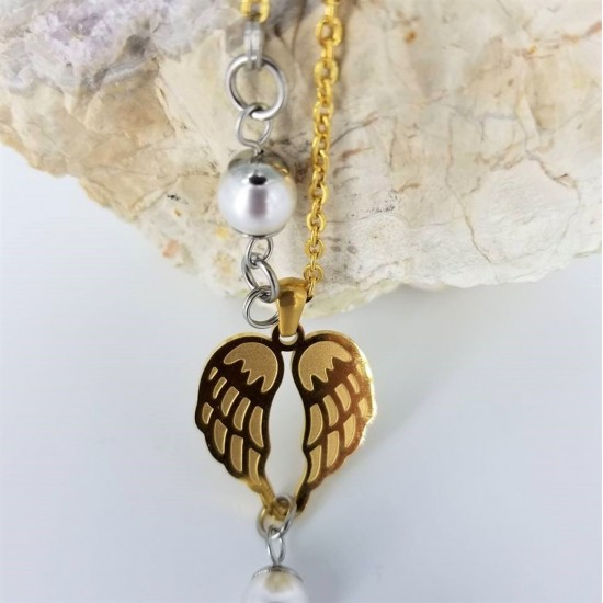 Collier AILES D'ANGE or  et perle Swarovski blanche
