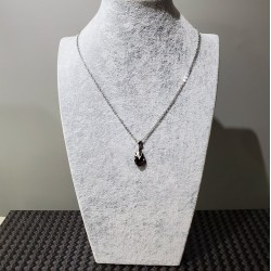 Collier court GOUTTE Crystal Swarovski en Acier Inoxydable ,PRUNE