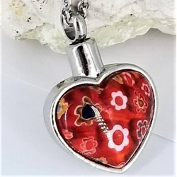 Collier URNE-CENDRE Coeur Rouge
